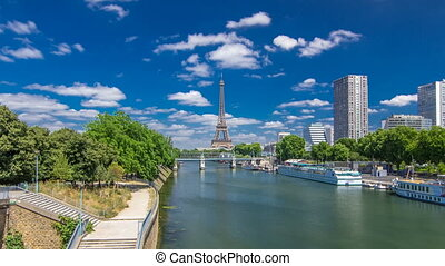 Eiffel tower at the river Seine timelapse hyperlapse from...