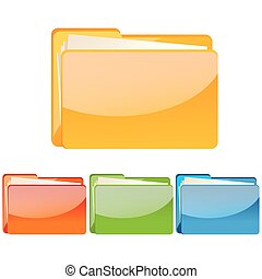 set of colorful folder icon - illustration of set of...