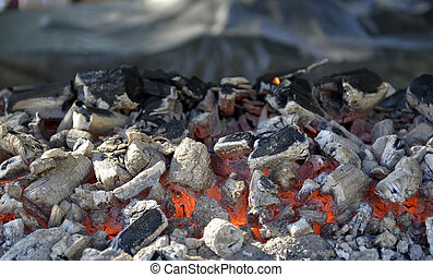 BBQ Grill Pit With Glowing And Flaming Hot Charcoal...