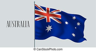 Australia waving flag on flagpole vector illustration. Three...