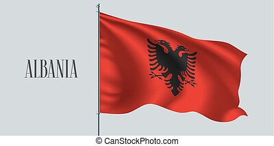 Albania waving flag on flagpole vector illustration. Eagle...