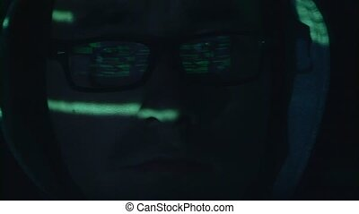Hacker is hacking the cyberpolicy web site. Close up -...