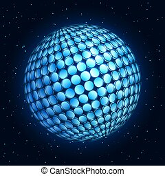 Design Element Abstract Sphere with Light Effect. - 3D...