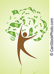 money tree - illustration of money tree with human as stem