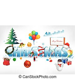 christmas text on snowy background