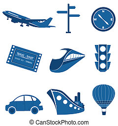 transportation icons - illustration of set of transportation...