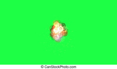 Smoke explosions on green screen