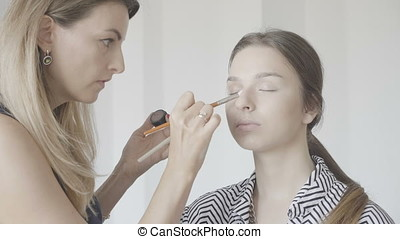 Make-up artist applying cosmetics on a client in the salon....