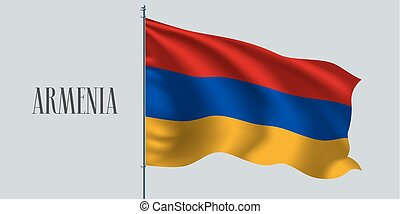 Armenia waving flag on flagpole vector illustration. Triple...