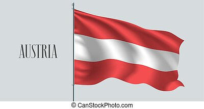 Austria waving flag on flagpole vector illustration. Triple...