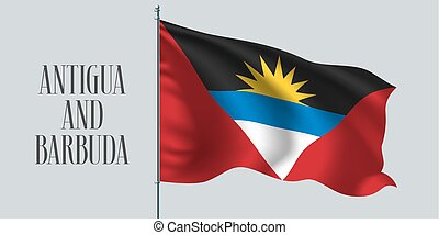Antigua and Barbuda waving flag on flagpole vector...