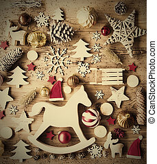 Christmas Flat Lay With Decoration, Retro Background,...