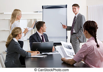 Business education - Image of confident businessman doing a...
