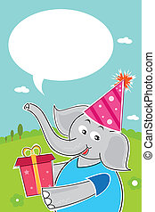 elephant with birthday gift