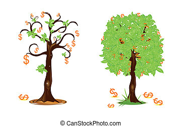 profit and loss - illustration of dollar trees showing...