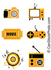 media icons - illustration of diiferent media icons on...