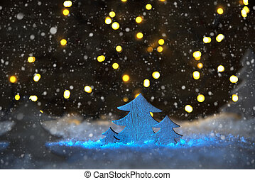 Wooden Christmas Tree With Snow, Lights, Snowflakes - White...