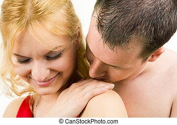 Tenderness - Image of tender man kissing female?s hand on...