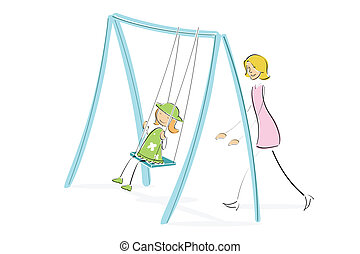 mom pushing daughter on swing - illustration of mom pushing...