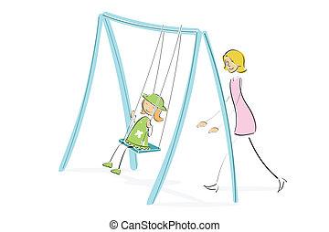 mom pushing daughter on swing