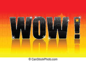 wow text - illustration of wow text on bright colorful...
