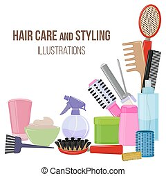 Tools and hair care products - Set of colorful equipments...