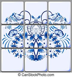 Floral ornament applied to a ceramic tile. Modular grid....