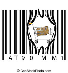 shopping cart coming out of barcode - illustration of...