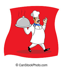 cook serving food - illustration of cook serving food