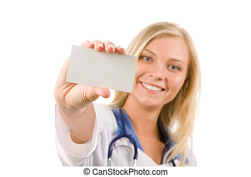 Visiting card - Focus on visiting card in happy female hand