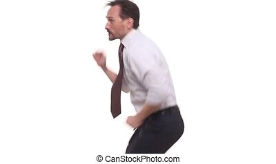 Businessman dancing over white background - Handsome...