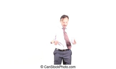 Businessman showing different emotions