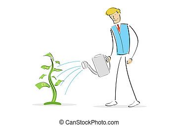 man watering money plant - illustration of man watering...