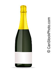 13A2 - illustration of champagne bottle on isolated...