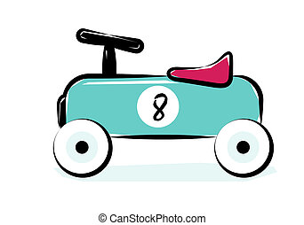 Race Car. Line Art Vector Illustration Of A Blue Vintage...