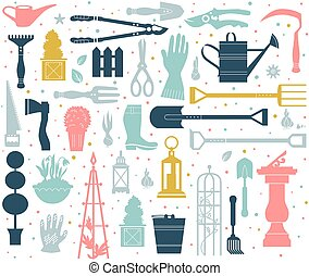 Color pattern seamless - Vector set of gardening tools....