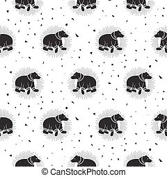 Bear black and white tribal seamless vector patterns. Wild...