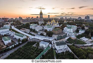 Aerial view of Kiev Pechersk Lavra, Kiev, Kyiv, Ukraine....