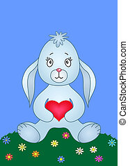 Rabbit with heart on a meadow