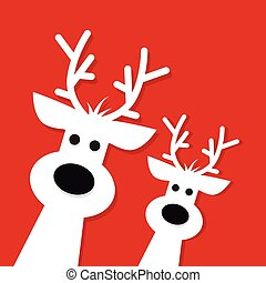 Two white Christmas Reindeer on a red background, vector...