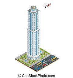 Isometric skyscraper with helipad on the roof composition...