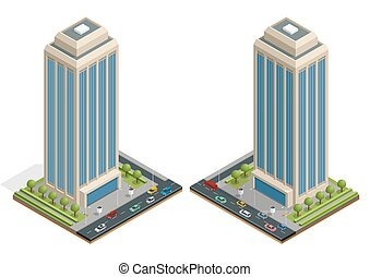 Isometric city houses composition with building and road...