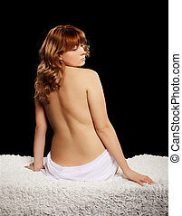 naked red-haired girl - back portrait of beautiful bare...