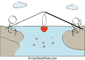 couple fishing heart - illustration of couple fishing heart