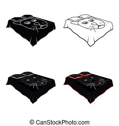 A bed with a black coverlet.Bed with a black cat on the...