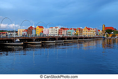 Willemstad - Nighttime panorama picture of Willemstad city,...