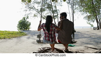 Couple On Swing Communication Back Rear View, Man And Woman...