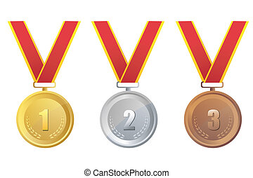 gold, silver and bronze medal - illustration of gold,silver...