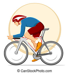 cyclist - illustration of man cycling on circular background