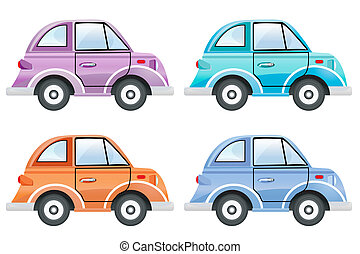 set of colorful cars